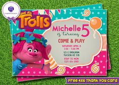 Trolls Invitation Trolls Party Trolls Birthday by MLGraphikDesigns