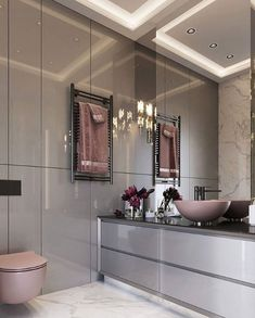 Banheiro Rosa - Pink Bathroom Pink bathroom, rose gold bathroom, pink and gray bathroom, pink and wh Bad Inspiration, Bathroom Inspiration, Modern Bathroom Design, Bathroom Interior Design, Dream Apartment, Apartment Design, Apartment Ideas, Grey Bathrooms, Small Bathroom