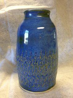 Ceramic  Pottery Vase Indigo Float. $22.00, via Etsy.