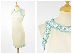 Vintage 1960s ivory embroidery mod cocktail dress - size M