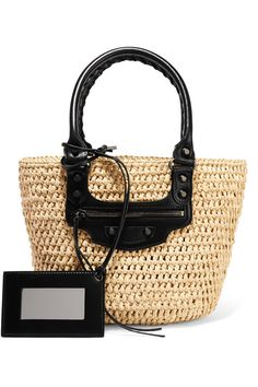 Beige raffia, black leather Open top Weighs approximately 3.1lbs/ 1.4kg Made in Italy