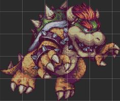 Bowser By AbyssWolf Perler Sprite Pattern Template by D1A13LO on DeviantArt