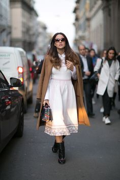 This look is so chique, a white dress/skirt with pink accents and a long brow, coat. Milan Fashion Week