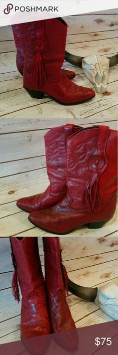 Vintage oxblood Laredo boots with tassel Super cool rare boots in great vintage condition. Soles and heels are great and the upper leather is creased and distressed with color variation in areas but I think this just adds to the beauty of the boot. Vintage Shoes