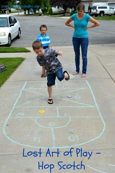 The game of Hop Scotch has been around for hundreds, even thousands of years. Great game for all ages. Teaches coordination and other skills. www.amothersshadow.com