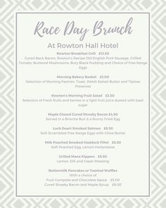 Check out our Race Day Brunch menu!  Served from 10am up until 1.00pm! 10th 11th & 12th May #brunch #raceday #boodlesmayfest #follow4follow #like4like #chester #visitchester #countryhousehotel #rowtonhall