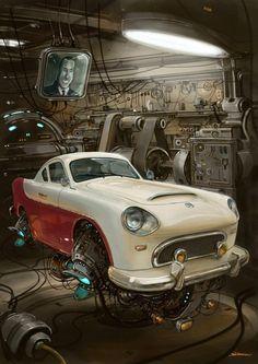 Un automóvil Justicialista retrofuturista, Juan D. Perón le sonríe desde una pantalla. Argentina)