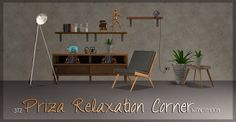 Wondymoon´s Priza Relaxation Corner for TS2 Armchair (seating>living chairs) Coffee Table (surfaces>coffeetables) Console (surfaces>misc) with 5 slots Floor Light (lighting>floor lamps) Plants (deco>plants) - small and biger (addon) Shelf Light (lighting>wall lamps) Shelf (surfaces>shelves) - requires AL - 2 slots Multipliers for recoloring Collection file and icon Credit: wondymoon for the original meshes A huge thank you goes to nanashi-sims for showing me the tutorial ...