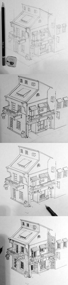 1. pencil sketch 2. ink by drawliner 0.2 3. clearing lines 4. add details drawliner 0.05