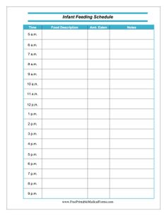 Infant feeding schedule template at http://www.wordexceltemplates ...