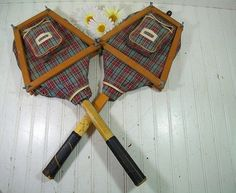 Vintage Wooden Tennis Rackets with Plaid Canvas Covers & Wood Guards - Retro Sports Equipment Ensemble 6 Piece Set - Repurpose GameRoom Art $67.00 by DivineOrders
