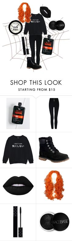 """""""Redhead Goth"""" by musikluver00 ❤ liked on Polyvore featuring Free People, Timberland, Lime Crime, Merida, Gucci, Manic Panic NYC, outfit, black, goth and redheadgoth"""