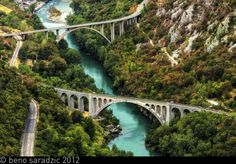 SOLKAN BRIDGE in Slovenia, second largest stone bridge in the world, built between 1900-1905 is still standing and operational.