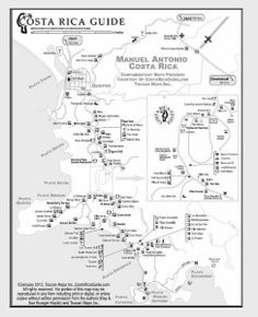 Manuel Antonio and Quepos Costa Rica Map Printable Maps, Free Printable, Quepos, Costa Rica Travel, Future Travel, Central America, Places To Travel, National Parks, Pura Vida