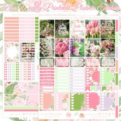 Planner Onelove: Free Hello Spring Printable Planner Stickers For The Erin Condren & Recollections Planner Free Planner, Planner Pages, Happy Planner, Planner Ideas, Image Deco, Printable Planner Stickers, Free Printables, Day Planners, Hello Spring