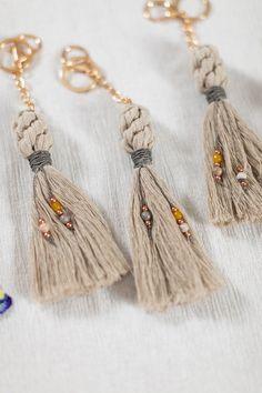 Macrame Keychain, Bridesmaid Gift, Best Friend Gift, Wedding Favor, Tassel Keychain, Purse Clip, MOH
