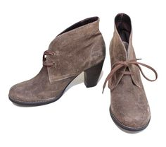 INDIGO BY CLARKS Brown Brushed Suede Leather Lace Up Booties Boots 7.5 $130 #IndigobyClarks #Booties #Casual