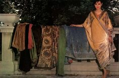 Tina Chow with her collection of Fortuny pieces