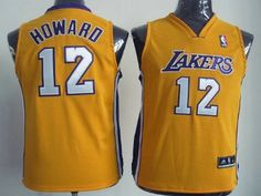 Los Angeles Lakers 12 Dwight Howard Yellow Authentic Kids Jersey