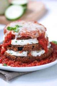 What a way to stack on the flavor! // Stuffed Baked Eggplant Parmesan #delallo #italian #recipes
