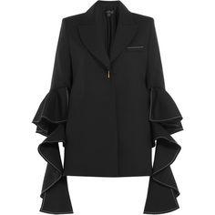 Ellery Wool Ruffle Sleeve Blazer (25.666.795 IDR) ❤ liked on Polyvore featuring outerwear, jackets, blazers, black, tailored blazer, woolen jacket, wool blazer, blazer jacket and wool jacket