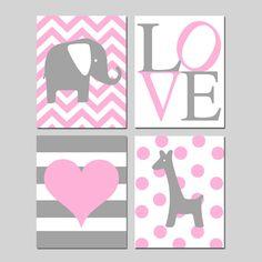 Baby Girl Nursery Art - Set of Four 8x10 Prints - Chevron Elephant, LOVE, Striped Heart, Polka Dot Giraffe - Choose Your Colors