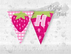 Strawberry Banner Birthday Banner  Happy Birthday by ArigigiPixel