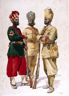 Soldiers of the 43rd Erinpura Regiment, the 44th Merwara Infantry and the 108th Infantry, illustration for 'Armies of India' by Major G.F. MacMunn, published in 1911, 1910 Wall Art & Canvas Prints by Alfred Crowdy Lovett
