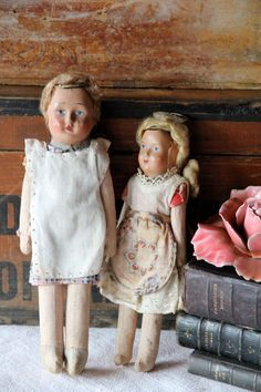 Set of 2 old paper mache dolls by BrocanterieBelleAmi on Etsy, $14.00