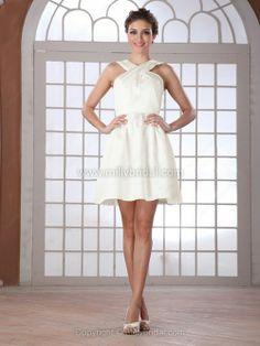 A-line Straps Satin Short/Mini Ruched Wedding Dresses
