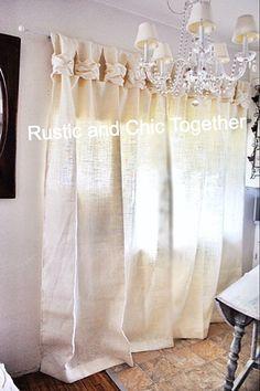 Burlap Curtain White Burlap Wide Ruched di RusticChicTogether