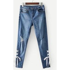 SheIn(sheinside) Ripped Detail Lace Up Jeans (50 BAM) via Polyvore featuring jeans, blue, cropped skinny jeans, skinny jeans, blue jeans, ripped jeans and lace up jeans