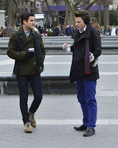 3 things I love about this photo: 1) My boys together, obvi 2) Did Kurt borrow Blaine's earmuffs, because adorable!! 3) Blaine's pants because OMG - snug is an understatement...