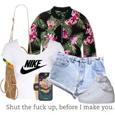 A fashion look from August 2014 featuring Jane Norman tops, Forever 21 jackets and Versace shorts. Browse and shop related looks.