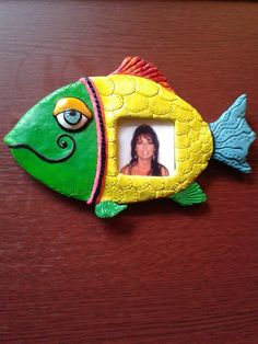 Items similar to Polymer Clay Colorful Fish Fridge Magnet - Fish Picture Frame Fridge Magnet - Green/Yellow Fish Fridge Magnet on Etsy
