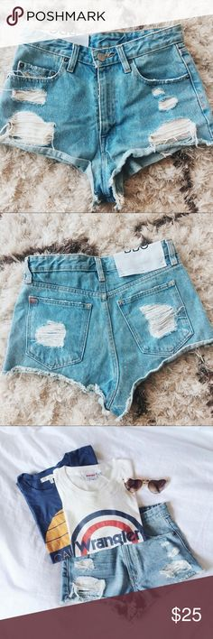 SOLD💓High waisted CHEEKY jean shorts Perfect co diction high waisted and super cheeky jean shorts. They sit high on the waist and helps give illusion of little waist! These shorts are not for the shy girl. They are pretty bold. Size says 27. I'm a 27 but would fit a 25/26 nice as well. If you're bigger than 27 you wouldn't be able to fit into these suckers. Tags : anthropologie urban outfitters child of wild verge princess Polly Levi Urban Outfitters Shorts Jean Shorts