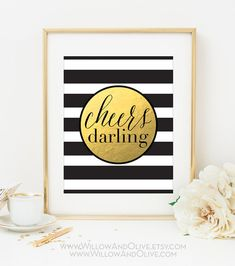 CHEERS DARLING Faux Gold Foil Art Print - Black & White Stripe - Bar Cart Art - Imitation Gold Leaf - Bar Accessories - Gilded Art -