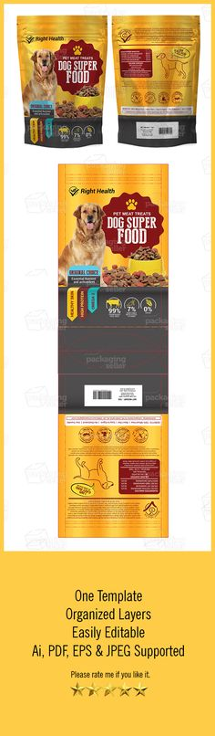 Hi, This is High quality Dog Supplement Bag Template Features: One Packaging Template Easy Customizable and Editable CMYK Color Design in 300 DPI Resolution Print Ready Format All Vectors Included Files: Ai, EPS , PDF & JPEG Included Help.txt File Included Files Included: 1 AI 1 PDF 1 JPEG 1 EPS Fonts links for this template MailRayStuff-Regular Roboto Press Style Serif Note: (MOCK-UP AND IMAGES ARE NOT INCLUDED IN MAIN DOWNLOAD.) Please... read more