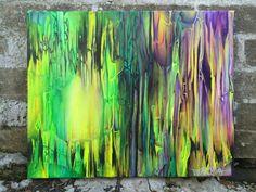 VIVID HALLUCINATIONS by Tripp Doogan. {{SOLD}}. #art #abstract #abstractart #modernart #colorful #neon #fluorescent #yellow #black #purple #green #pink #fineart #hallucination #homedecor #decor #new #forsale #etsy #shopping #original #originalpainting #originalart #painting #vivid #bright #light #cave #cavern #glow #colors