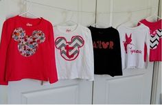 DIY Disney Shirts for Girls, via Teske Goldsworthy frazier Wilson Disney Diy, Disney Crafts, Disney Trips, Disney Ideas, Disney Cruise, Disney 2015, Disney Stuff, Disney Mickey, Walt Disney