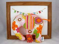 Elephant Plush Baby Toy - Stuffed Animal - Pink Orange - Orange Minky - Handmade $18