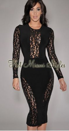 3f26b2cf817 Black Sheer Floral Lace Accent Midi Dress  fashion  clothing  shoes   accessories  womensclothing  dresses (ebay link)