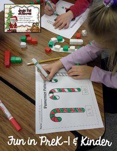 Peppermint Patterns- fun math station for PreK or Kindergarten!