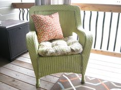 Think Spring!  Add new life to a plain brown outdoor wicker chair. I love GREEN!   2 coats Krylon spray plastic primer.  3 coats Krylon outdoor spray paint in Sprout.  Make sure you do this outside as the paint spray drifts and you need good ventilation! Happy Spring!