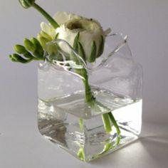 Vaso Scatola/Cubetto Trasparente Piccolo in Vetro di vetroedesign