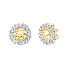 KATARINA Bezel Set Princess Cut Diamond Stud Earrings in 10K Yellow Gold 1//4 cttw, H-I, I2-I3
