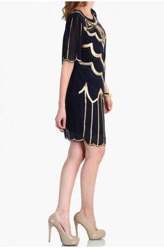 LoveMelrose.com From Harry & Molly | GOLD SEQUIN DRESS - Navy Chiffon