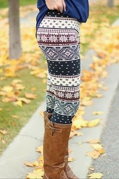 Winter cream leggings for ladies with long boots, and clearly need to start doing some squats