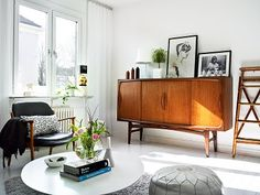 pouf, credenza, midcentury modern, danish furniture, white living room