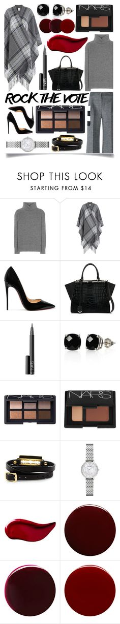 """Rock the Vote in Style"" by ittie-kittie ❤ liked on Polyvore featuring Prada, Theory, Christian Louboutin, Fendi, NARS Cosmetics, Belk & Co., McQ by Alexander McQueen, Emporio Armani, Kat Von D and Lauren B. Beauty"
